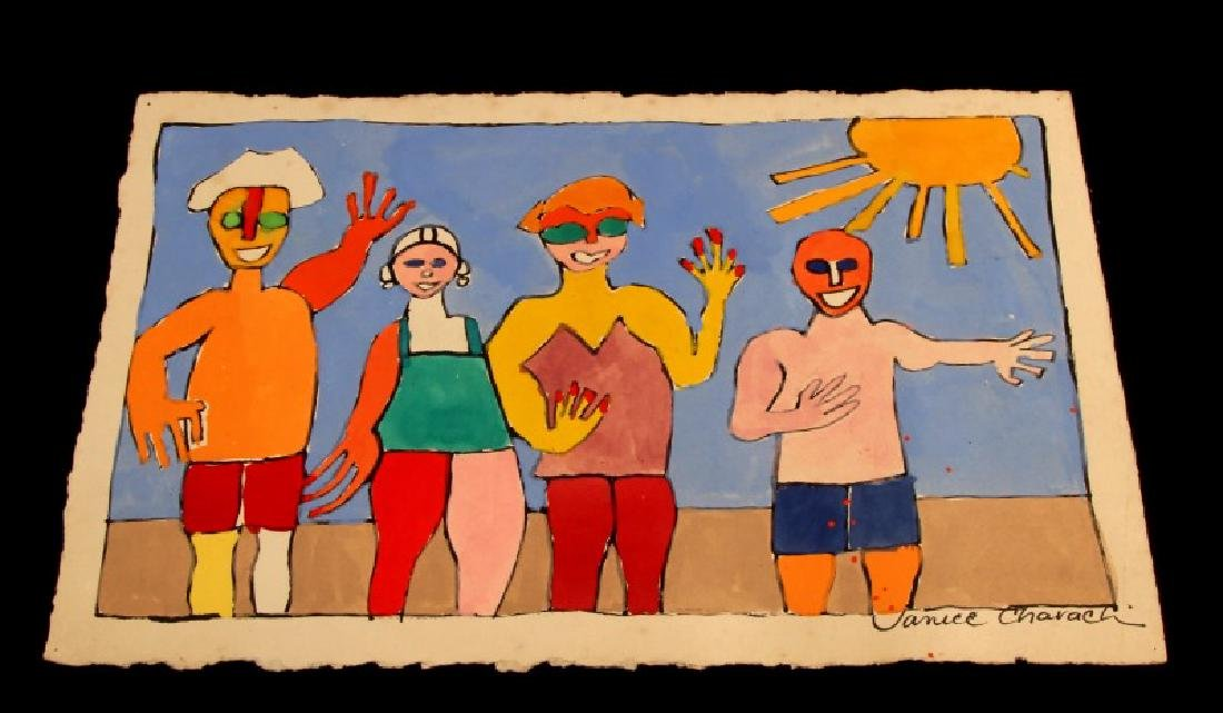 JANICE CHARACH FRIENDS ON THE BEACH PAINTING