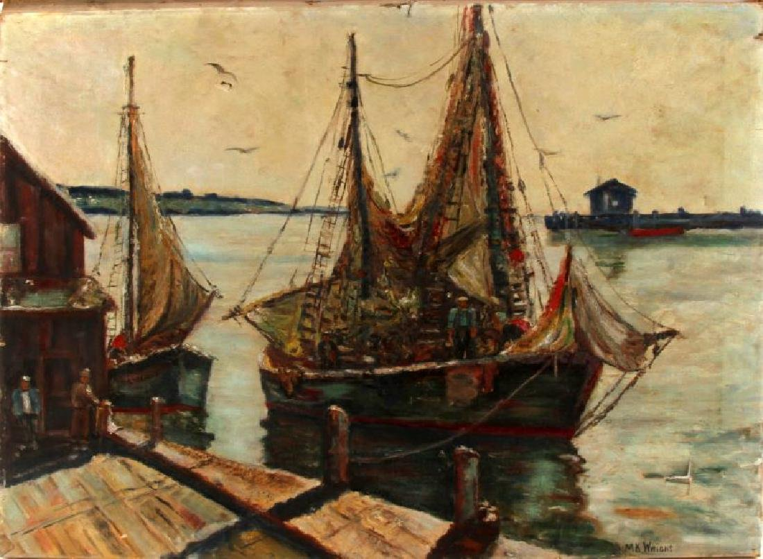 NAUTICAL SHIP HARBOR IMPRESSIONIST OIL PAINTING