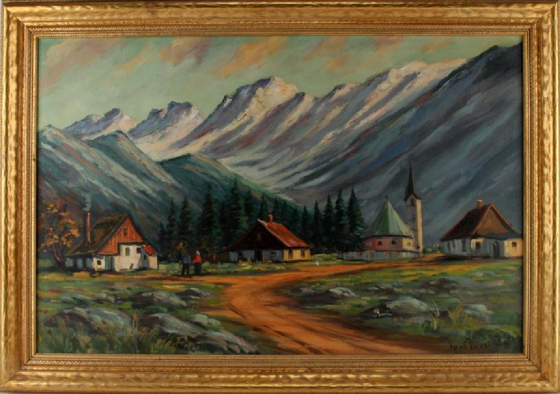 RENE PIERRE FRENCH ALPS OIL ON CANVAS PAINTING