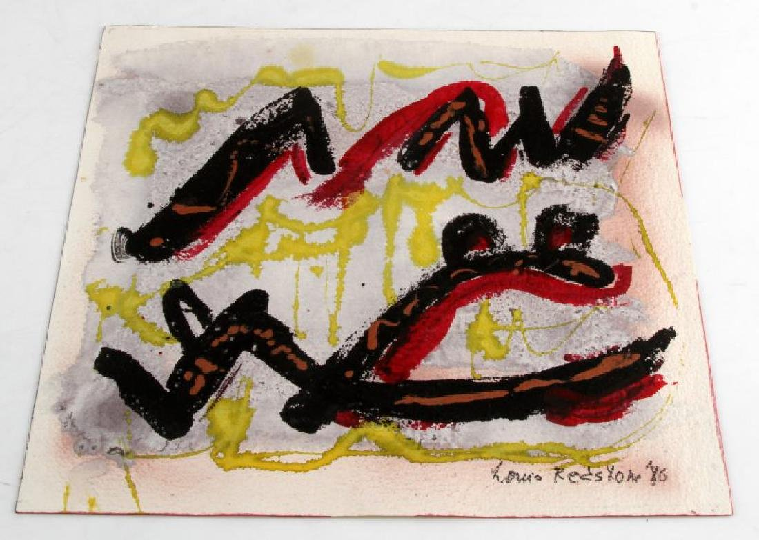 1980 LOUIS REDSTONE ABSTRACT MIX MEDIA PAINTING