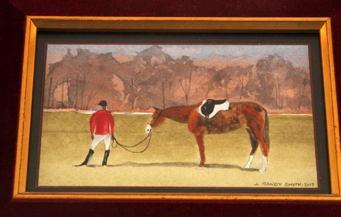 J RANDY SMITH EQUESTRIAN WATERCOLOR PAINTING - 2