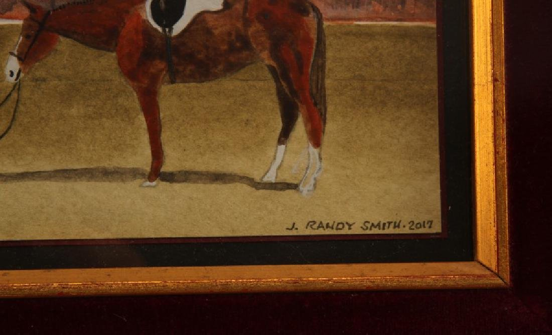 J RANDY SMITH EQUESTRIAN WATERCOLOR PAINTING - 3
