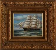 H PARKER CLIPPER SHIP NAUTICAL ART OIL PAINTING