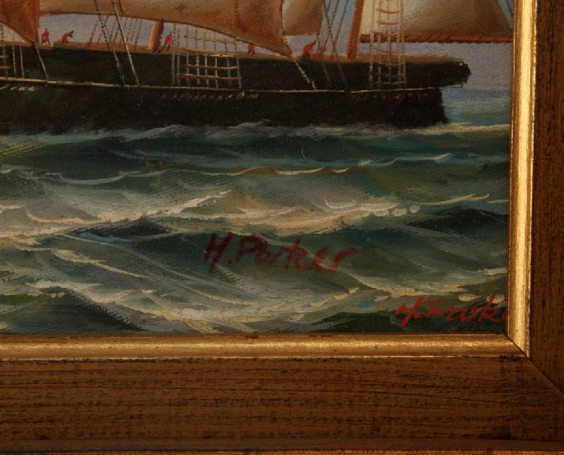 H PARKER CLIPPER SHIP NAUTICAL ART OIL PAINTING - 3