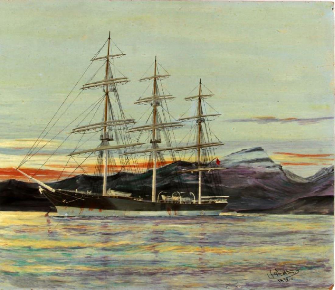 J ASHTON CLIPPER SHIP OIL ON BOARD PAINTING