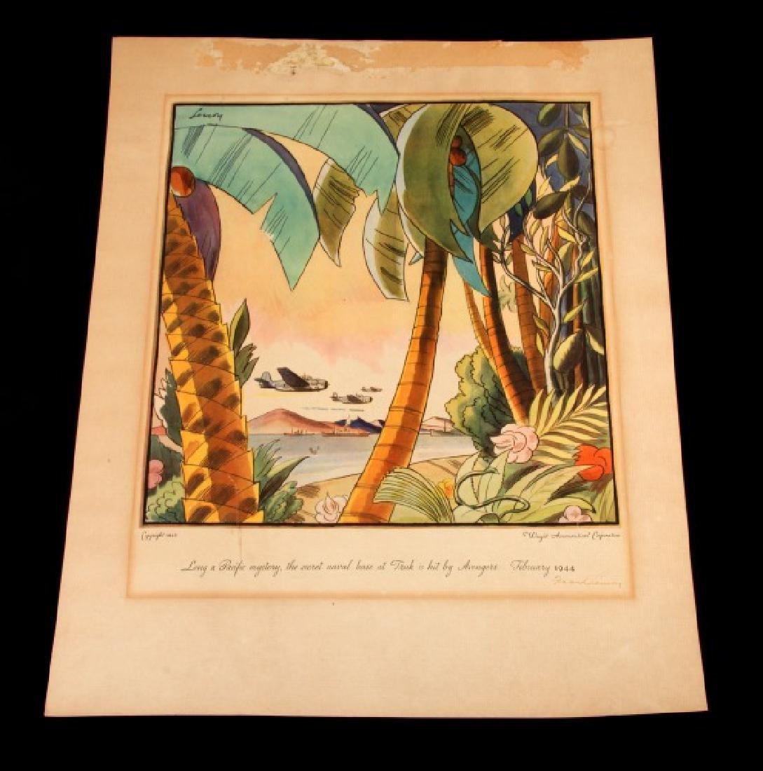 1945 WRIGHT AERONAUTICAL CORP LITHOGRAPH BY LEMON
