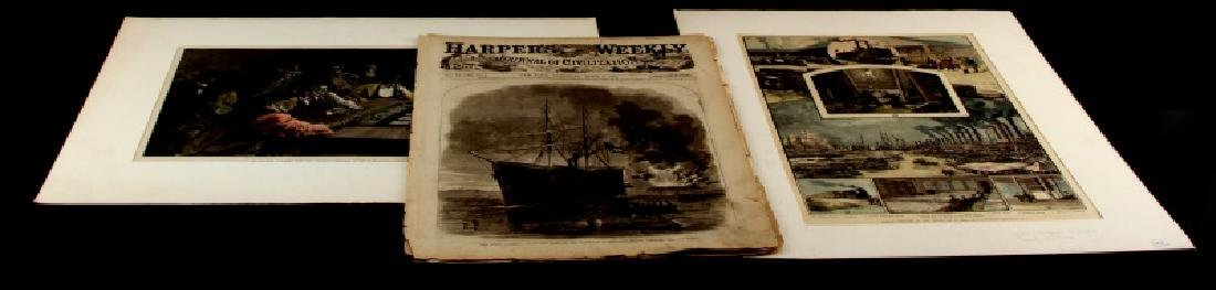 19TH CENTURY HARPERS FERRY NEWSPAPER ETCHINGS LOT