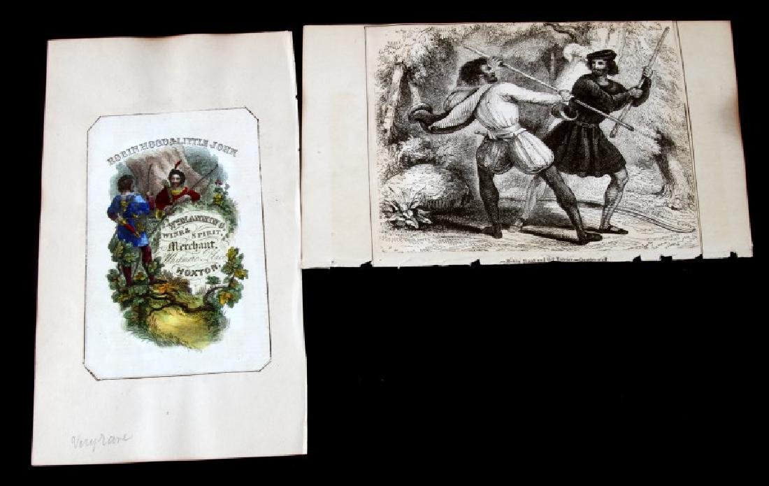 18TH CENTURY ROBIN HOOD COLOR ADVERTISING ETCHING