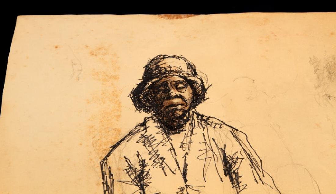ALICE SCOTT STUDIO SKETCH PENCIL AND INK DRAWING - 2