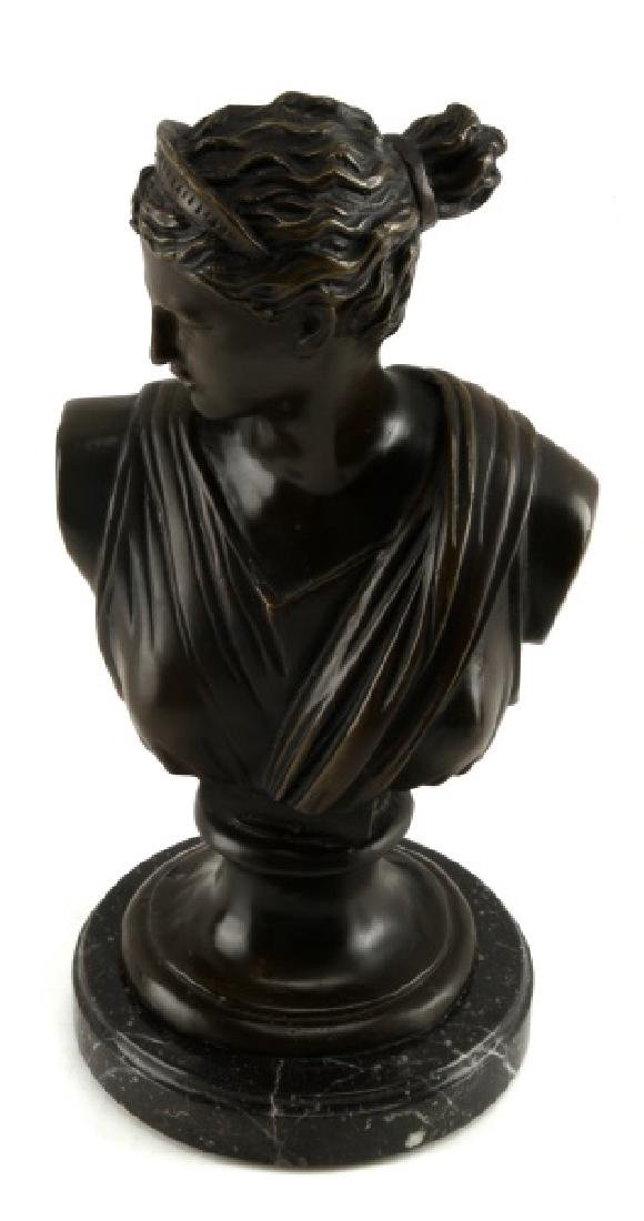 DIANA THE HUNTRESS BRONZE BUST ON MARBLE MOUNT
