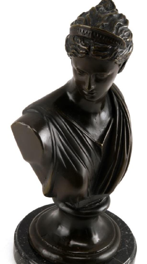 DIANA THE HUNTRESS BRONZE BUST ON MARBLE MOUNT - 2