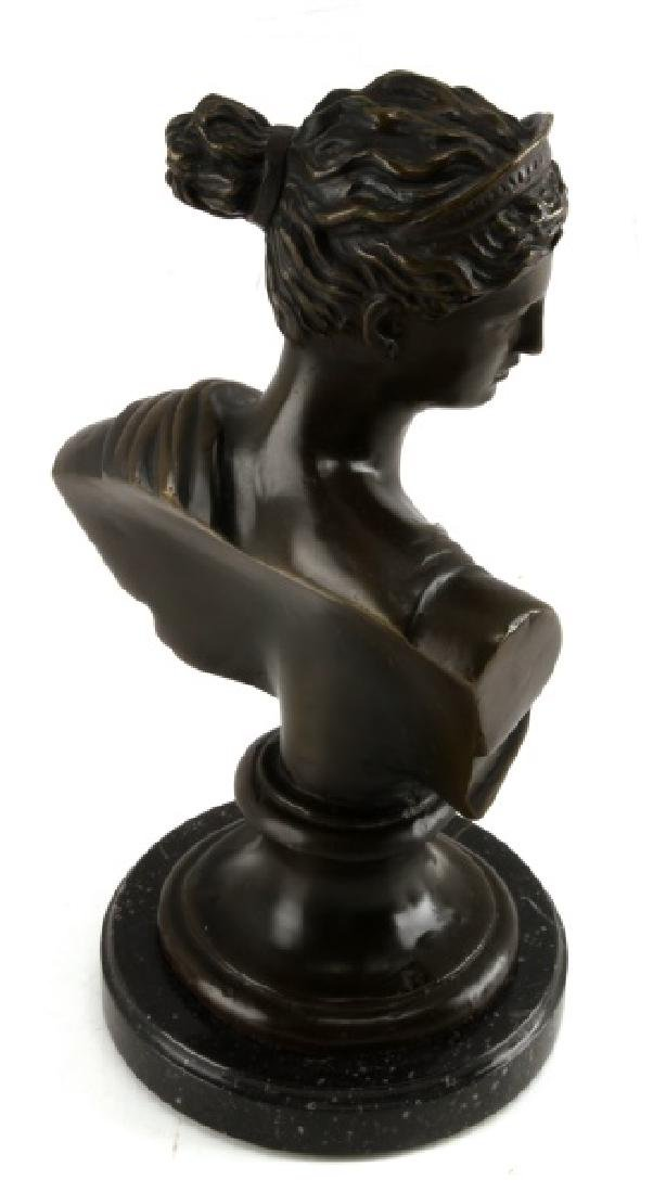 DIANA THE HUNTRESS BRONZE BUST ON MARBLE MOUNT - 3