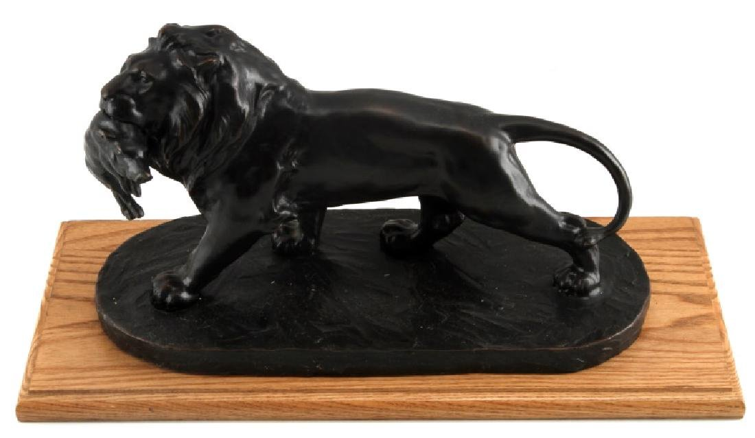 AFTER BARYE BRONZE LION WITH WARTHOG PIG STATUE