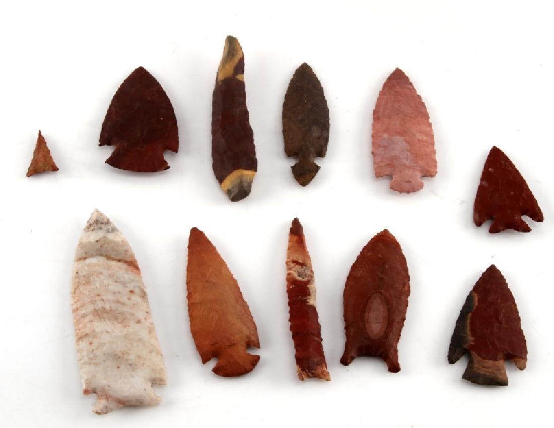 SMALL COLLECTION OF ARROWHEADS RED STONE & MORE - 2