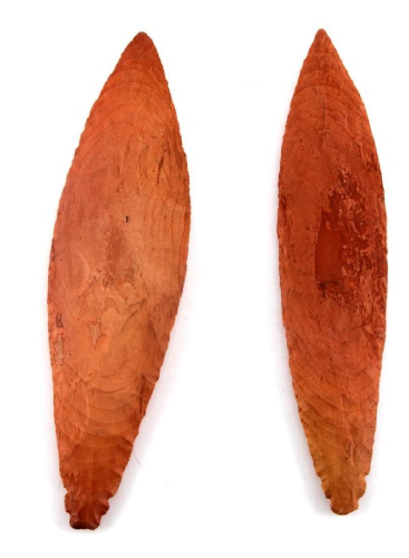 2 TURKEYTAIL ARROWHEADS MAYBE CATLINITE RED STONE