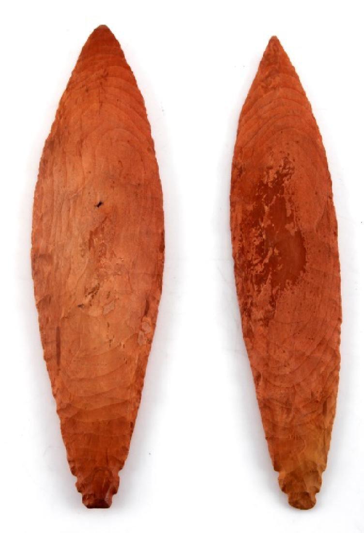 2 TURKEYTAIL ARROWHEADS MAYBE CATLINITE RED STONE - 2