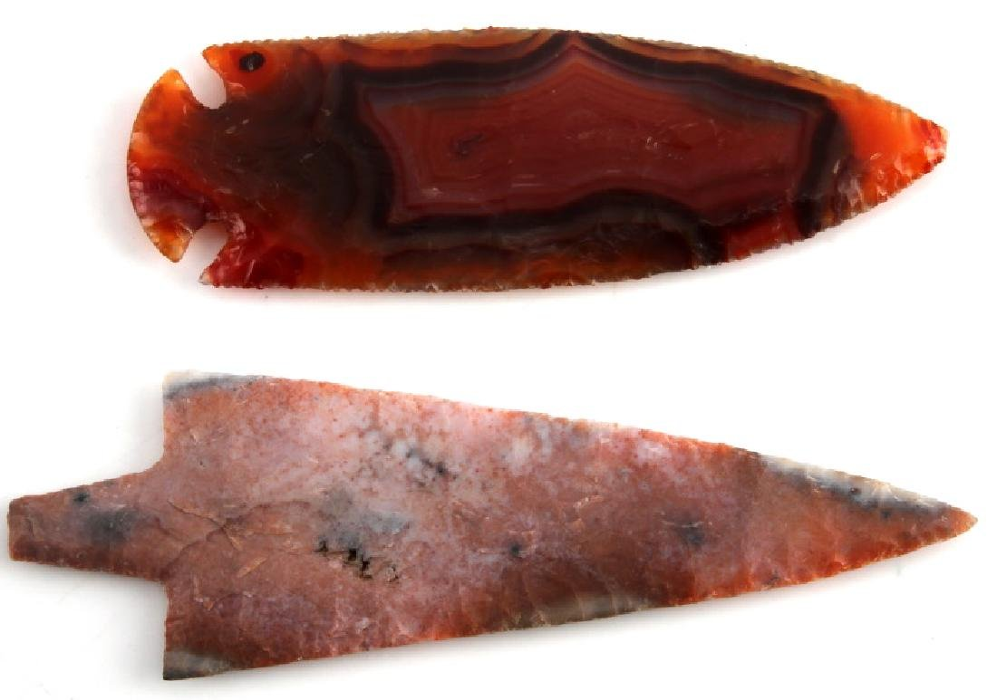 NATIVE AMERICAN HAND AGATE ARROWHEAD LOT OF TWO