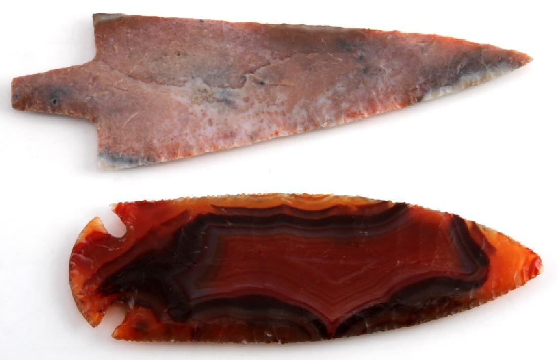 NATIVE AMERICAN HAND AGATE ARROWHEAD LOT OF TWO - 4