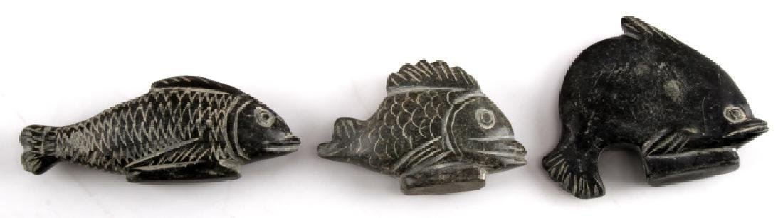 LOT OF 3 PISCEAN LITHIC STONE CARVINGS OF FISH