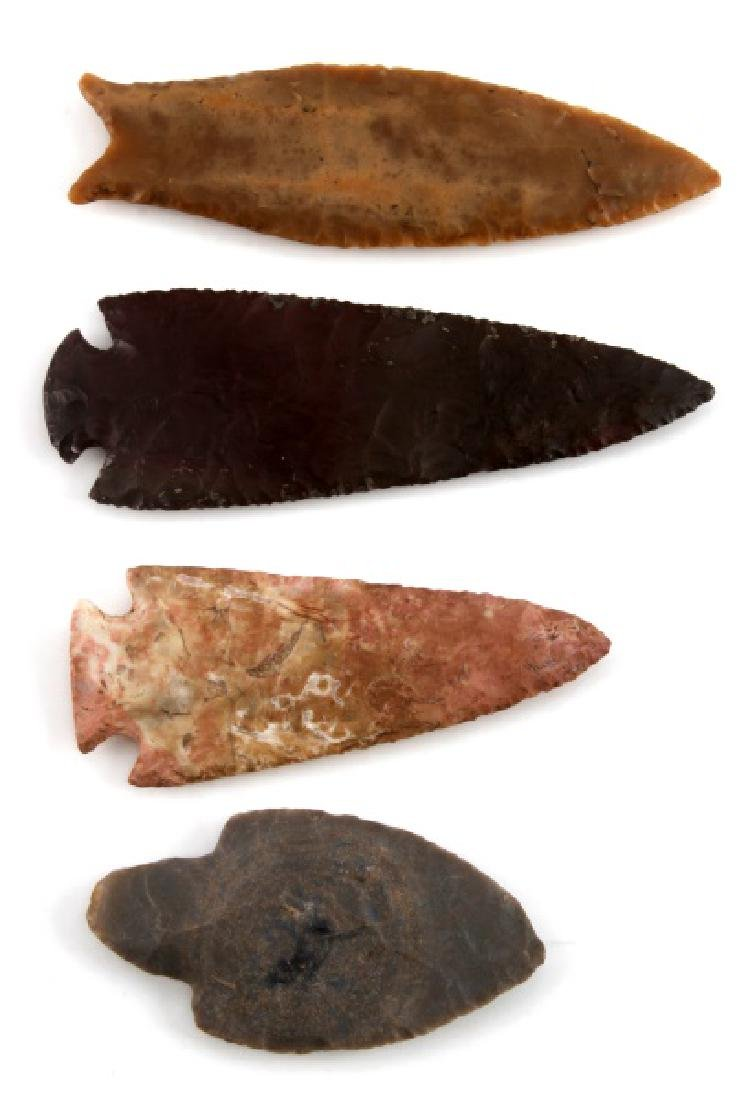 NATIVE AMERICAN HAND CARVED ARROWHEAD LOT OF 4