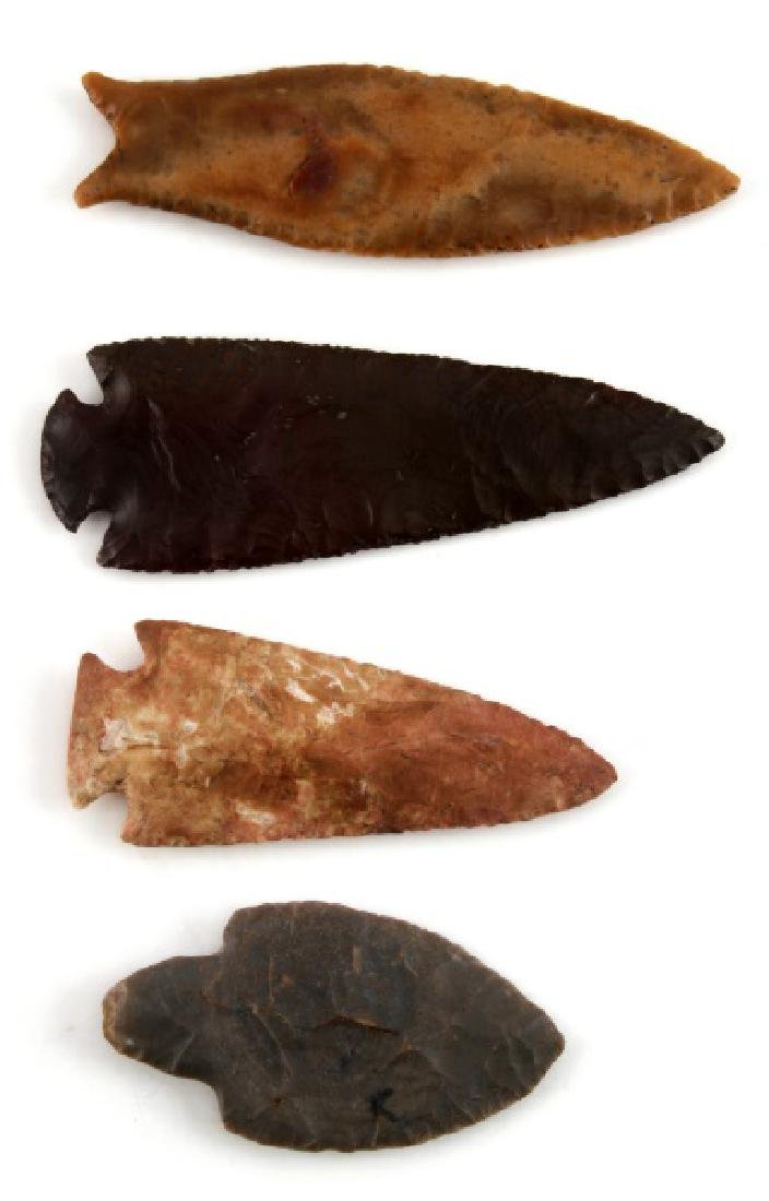 NATIVE AMERICAN HAND CARVED ARROWHEAD LOT OF 4 - 2