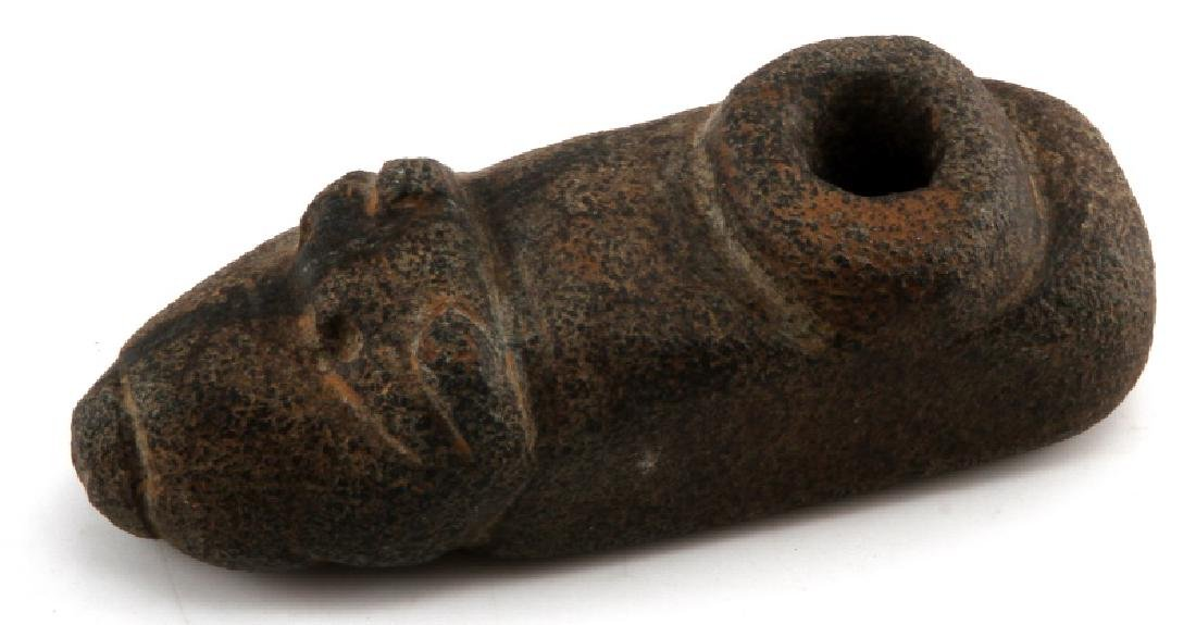 INDIAN CARVED STONE BEAR EFFIGY PIPE MADISON CO IL
