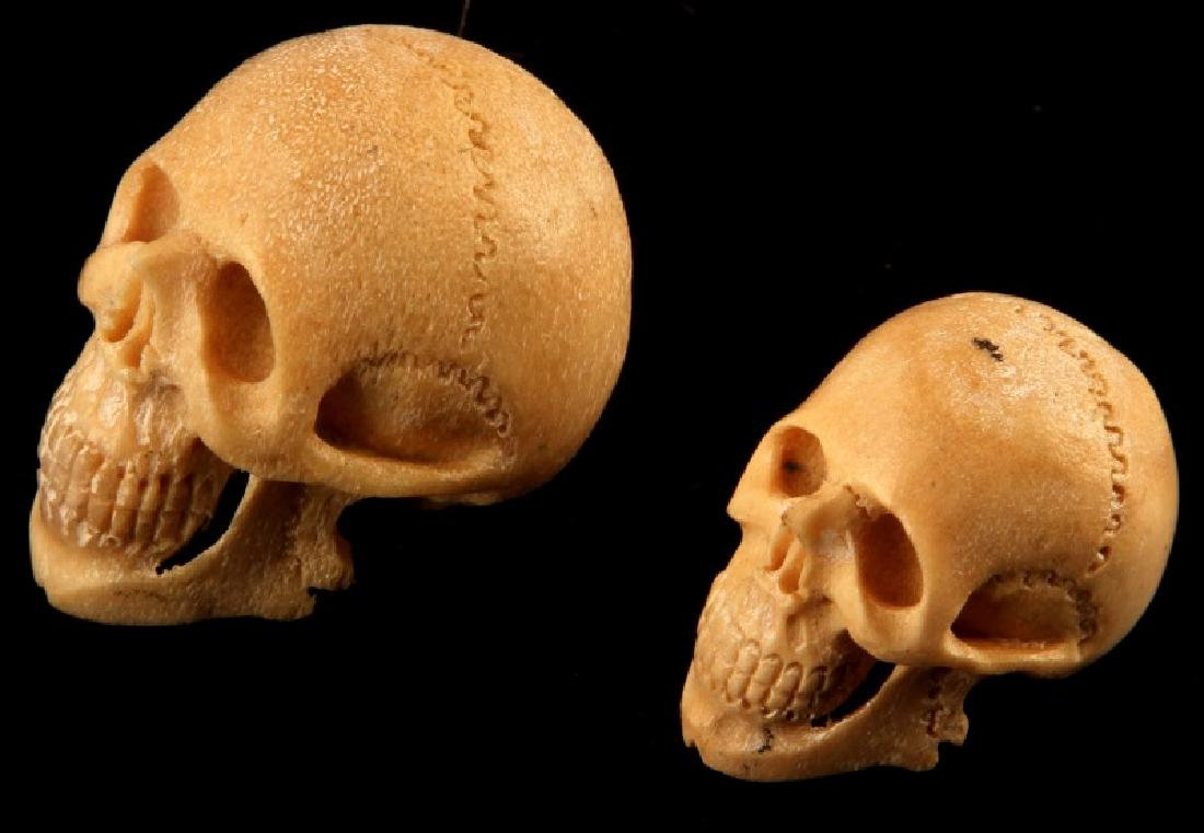 SMALL BONE CARVED HUMAN SKULL EFFIGY LOT OF TWO