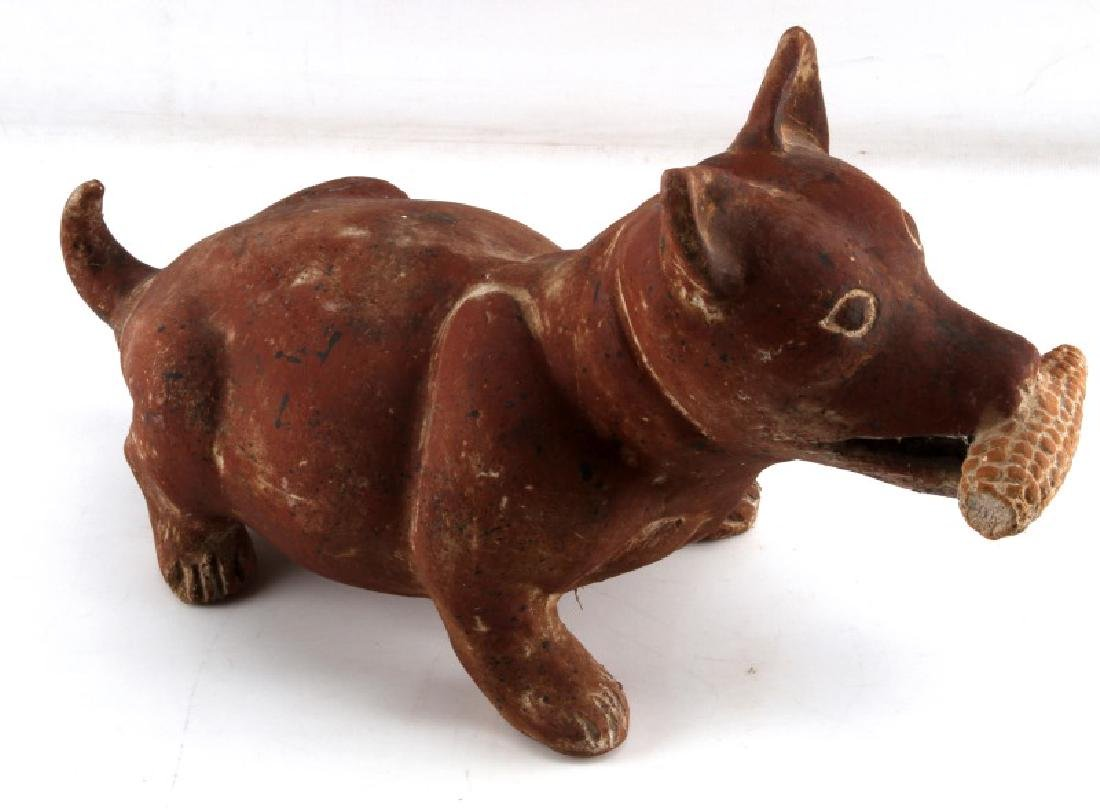 PRE COLUMBIAN COLIMA STYLE RED CLAY DOG FIGURAL