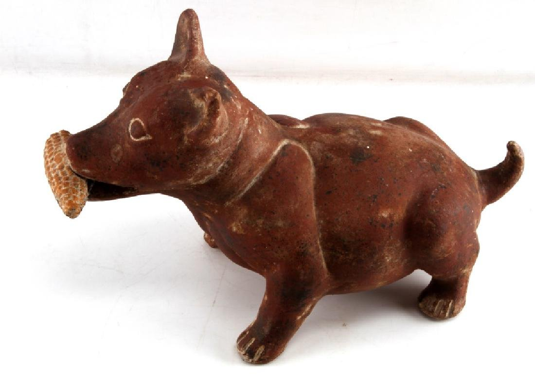 PRE COLUMBIAN COLIMA STYLE RED CLAY DOG FIGURAL - 2