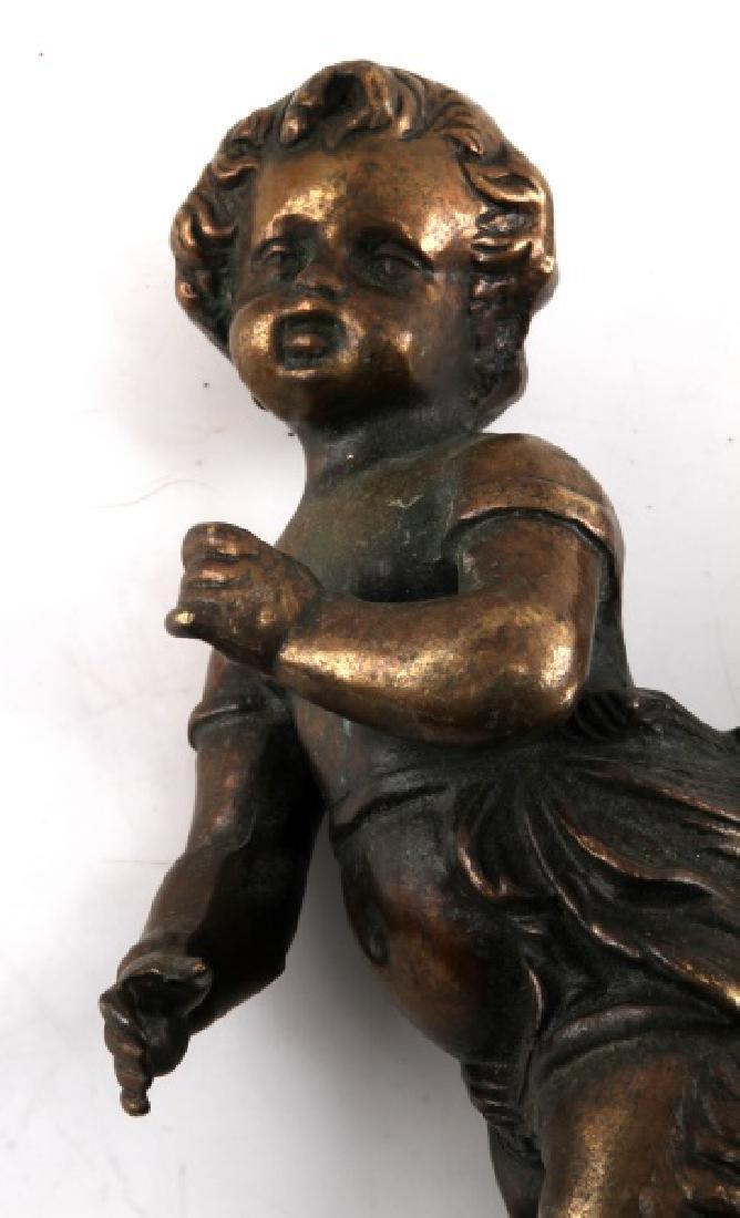 PAIR OF ANTIQUE BRONZE SATYR CHILDREN - 3