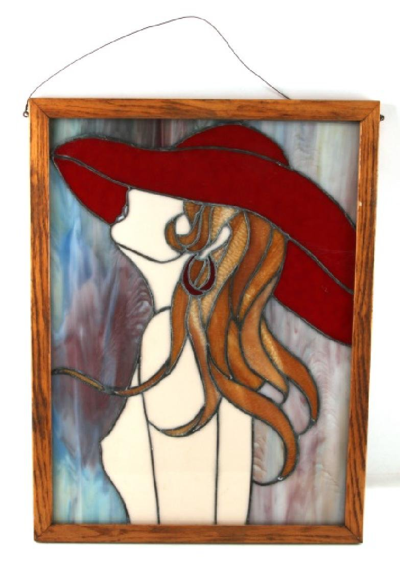 STAIN GLASS WALL HANGING OF NUDE WOMAN IN RED HAT