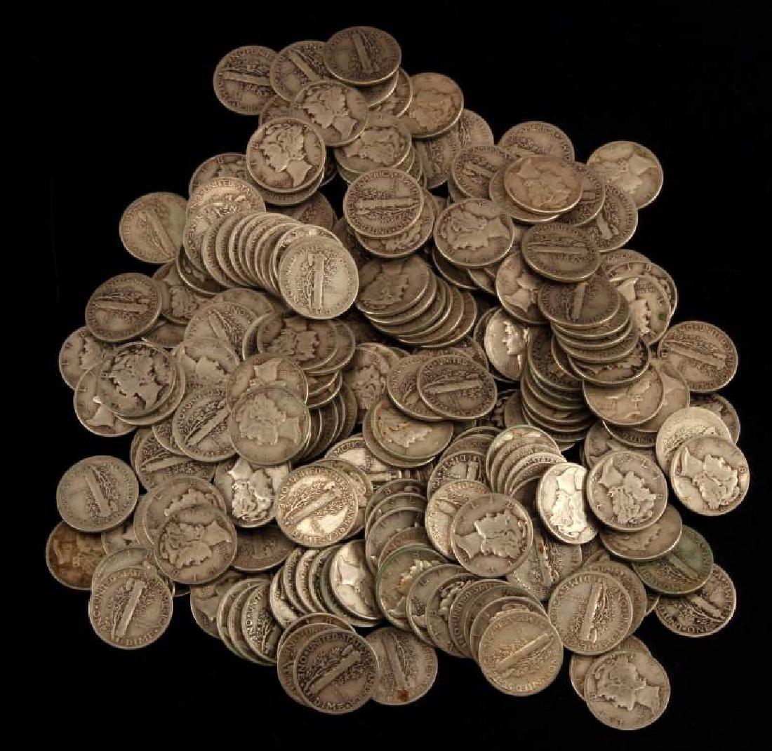 $25 FACE VALUE 250 COINS SILVER MERCURY DIME LOT
