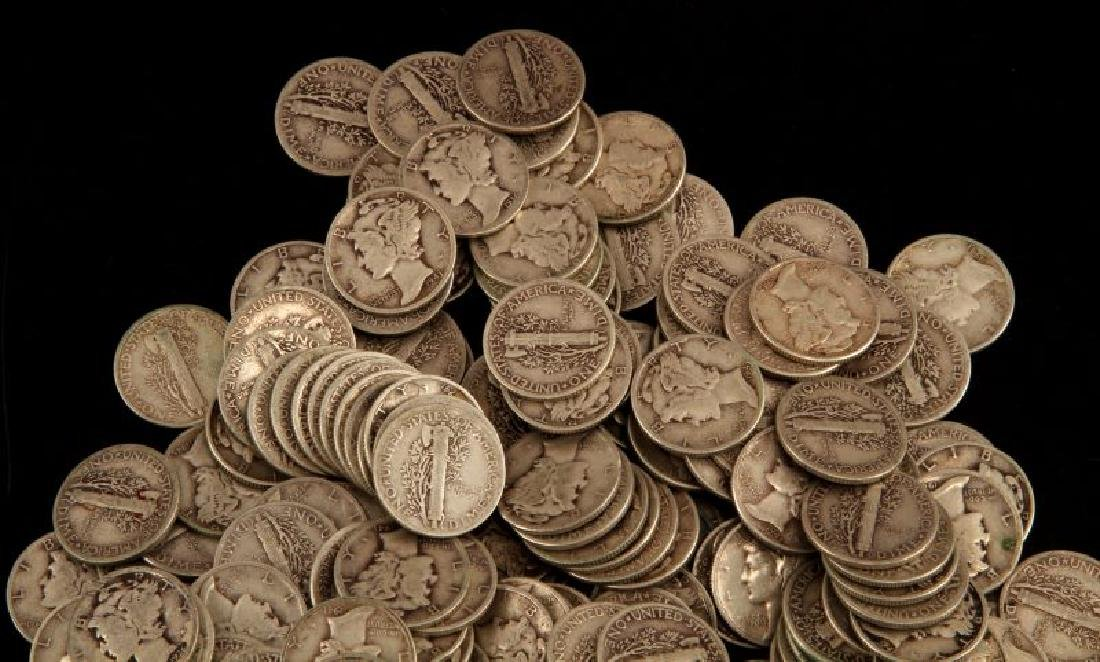 $25 FACE VALUE 250 COINS SILVER MERCURY DIME LOT - 2