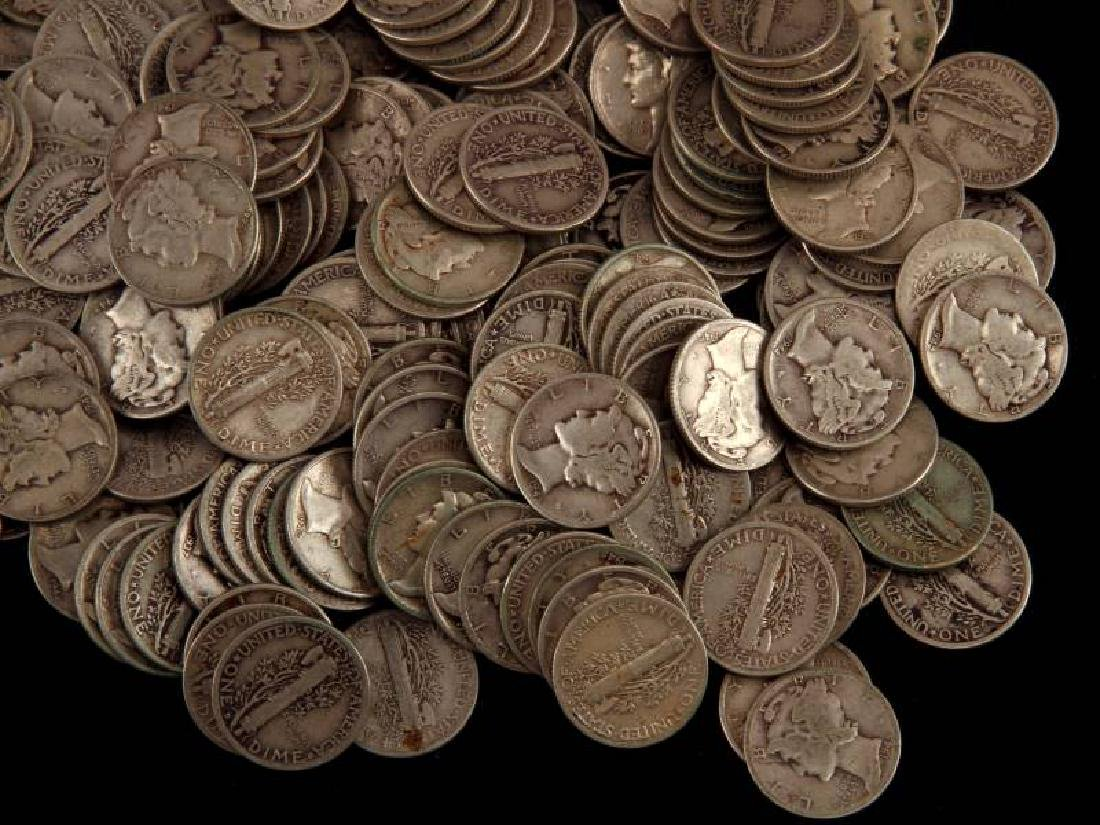 $25 FACE VALUE 250 COINS SILVER MERCURY DIME LOT - 3