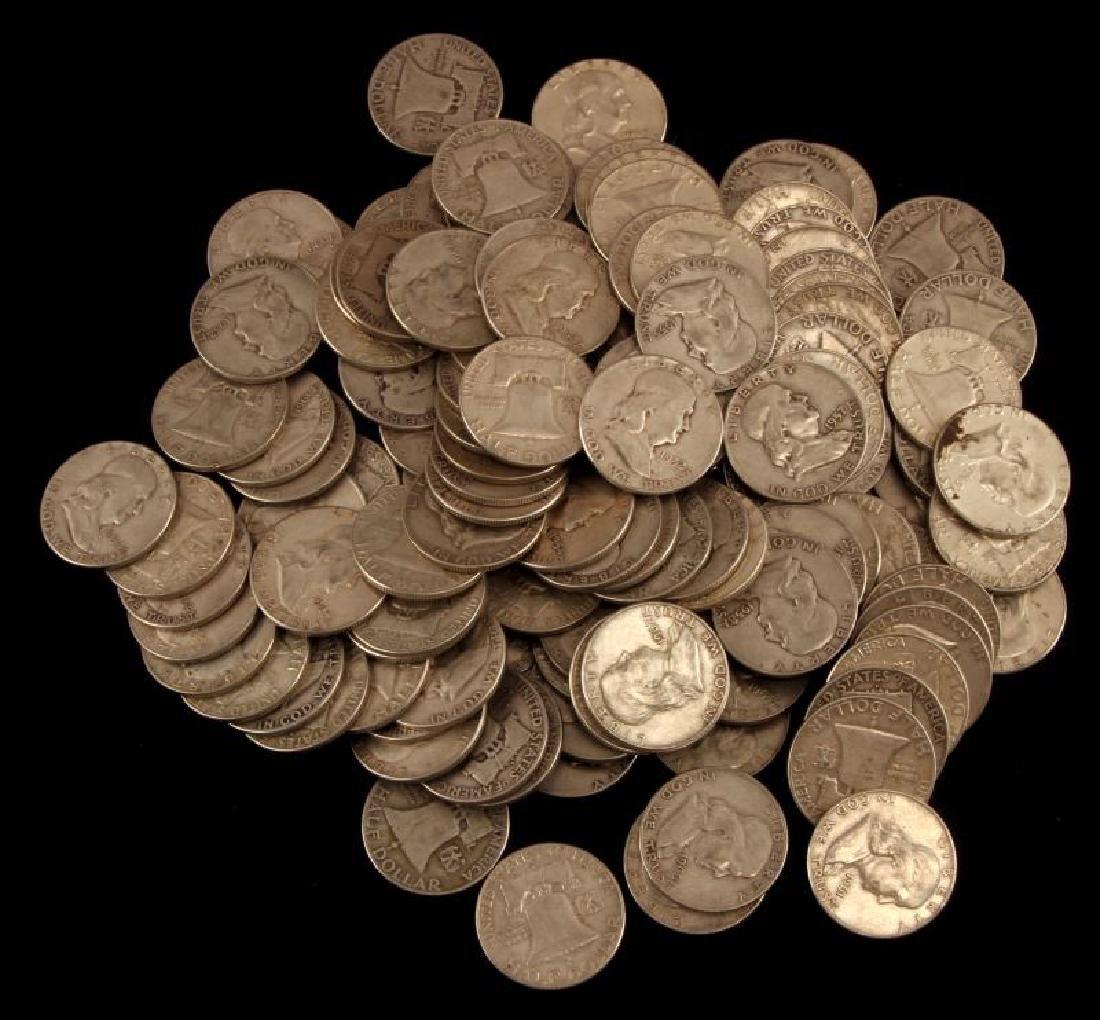 $65 FACE VALUE FRANKLIN HALF DOLLARS 130 COINS