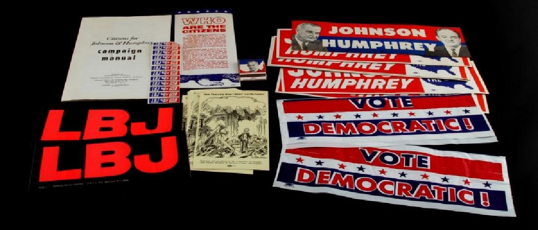 MIXED LOT JOHNSON AND HUMPHREY CAMPAIGN MATERIAL