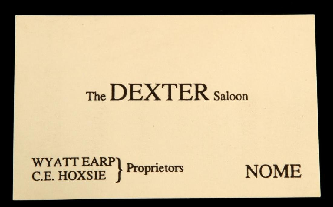 WYATT EARP DEXTER SALOON NOME BUSINESS CARD