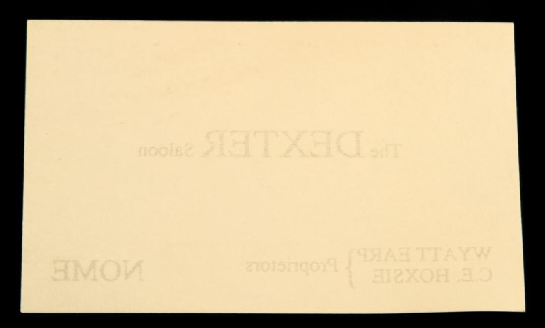 WYATT EARP DEXTER SALOON NOME BUSINESS CARD - 2