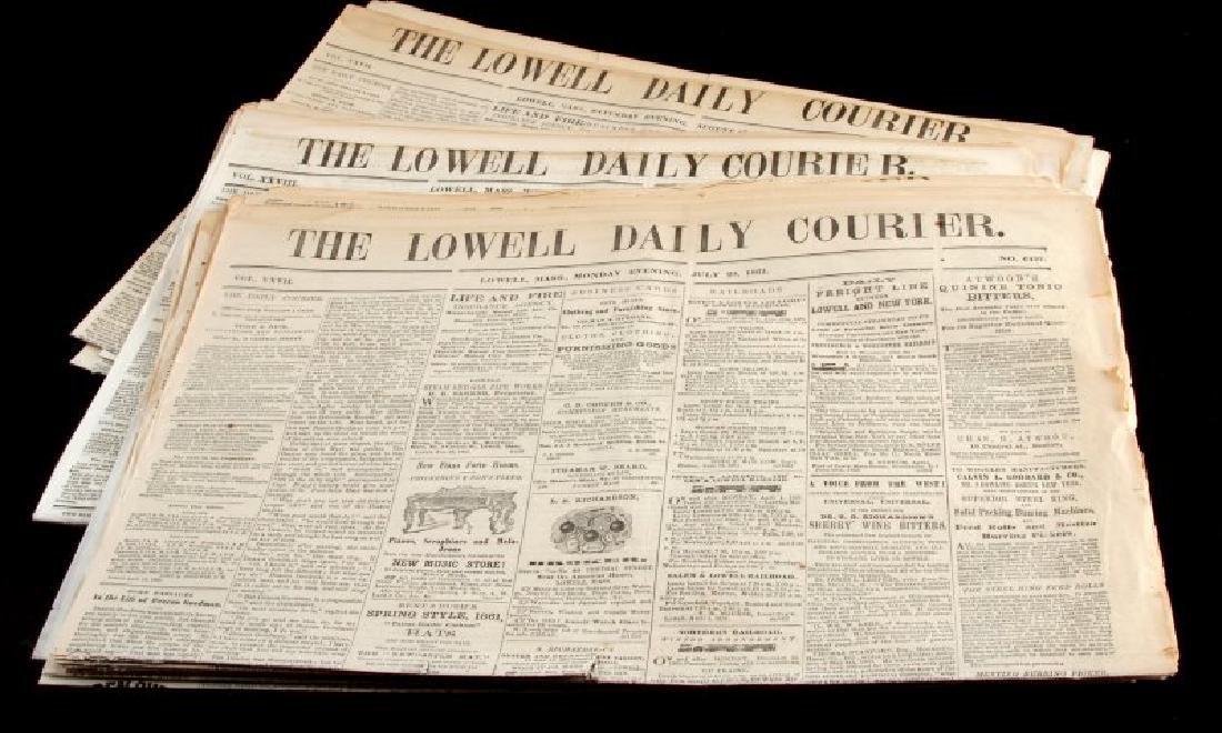 1861 & 1864 THE LOWELL DAILY COURIER NEWSPAPER LOT