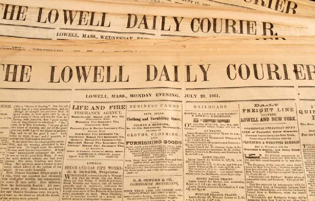 1861 & 1864 THE LOWELL DAILY COURIER NEWSPAPER LOT - 2
