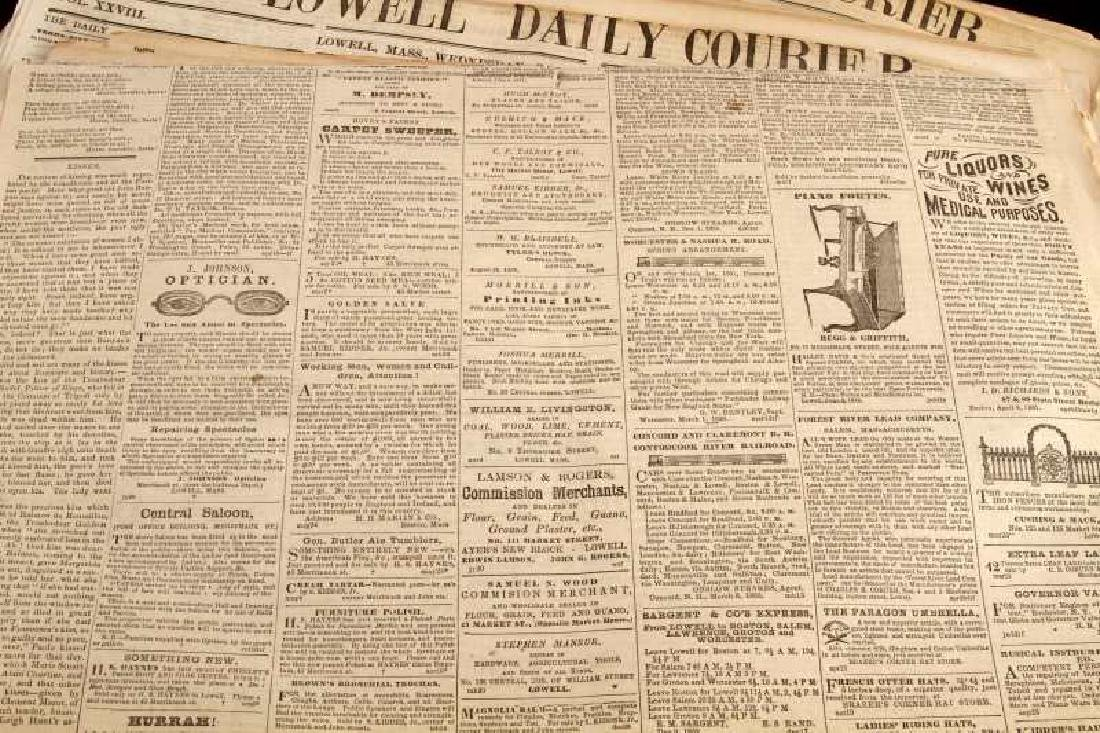 1861 & 1864 THE LOWELL DAILY COURIER NEWSPAPER LOT - 3