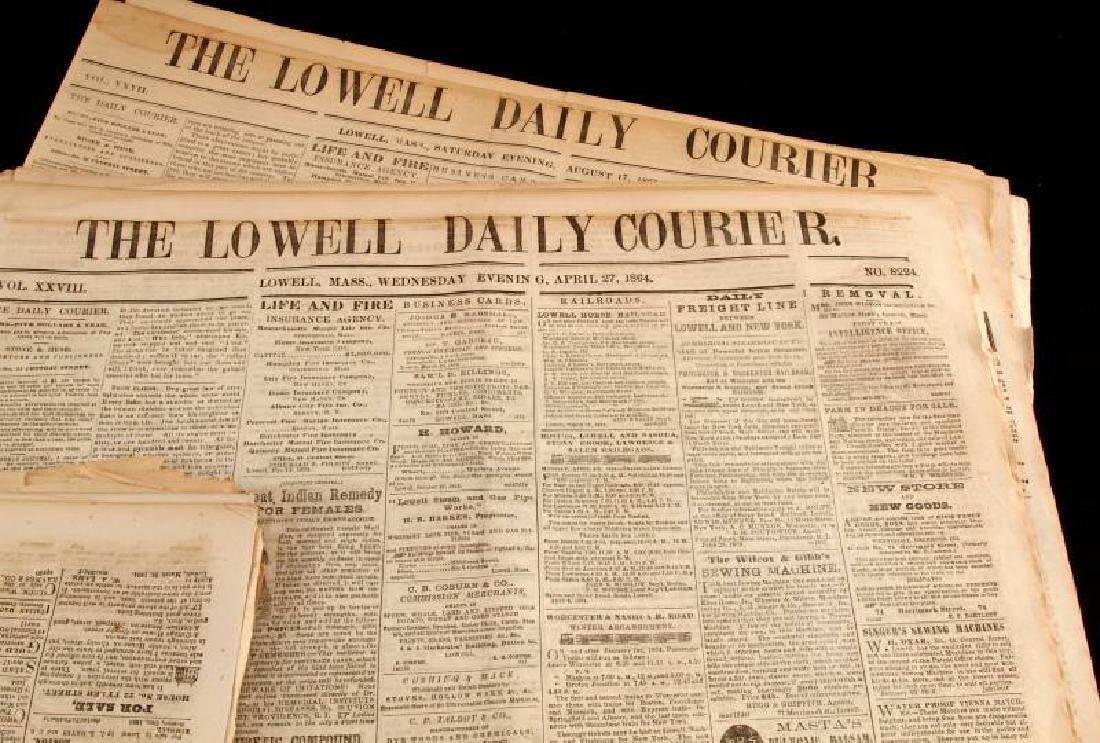 1861 & 1864 THE LOWELL DAILY COURIER NEWSPAPER LOT - 4