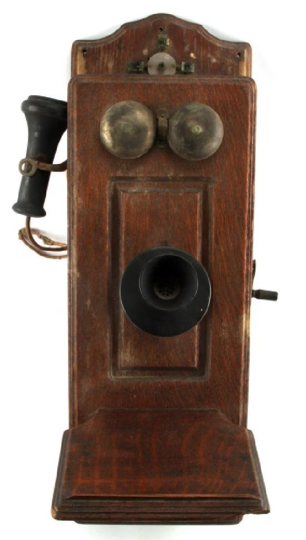 ANTIQUE WOODEN HANGING CRANK WALL TELEPHONE