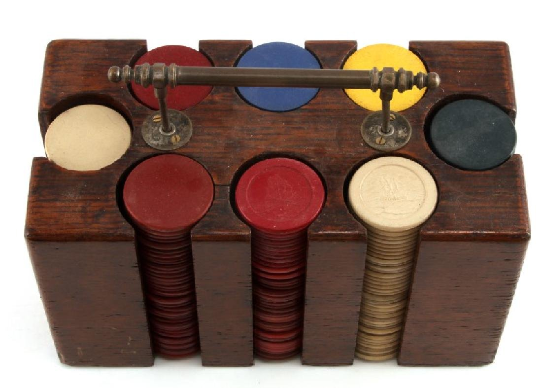 ANTIQUE POKER CHIPS SET WITH WOOD CARRIER