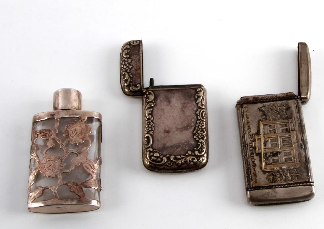 MIXED LOT SILVER MATCH BOX SNUFF BOTTLE & REED BOX