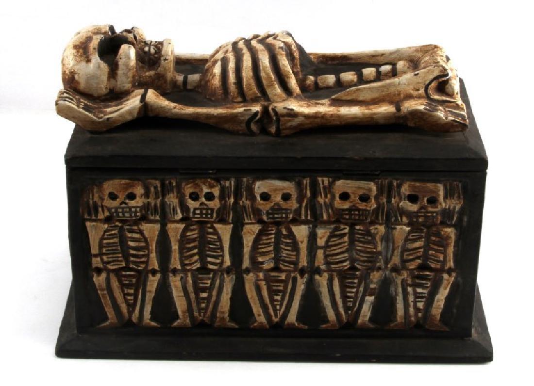 ANTIQUE ANIMIST TRIBAL AFRICAN MEMENTO MORI BOX - 3