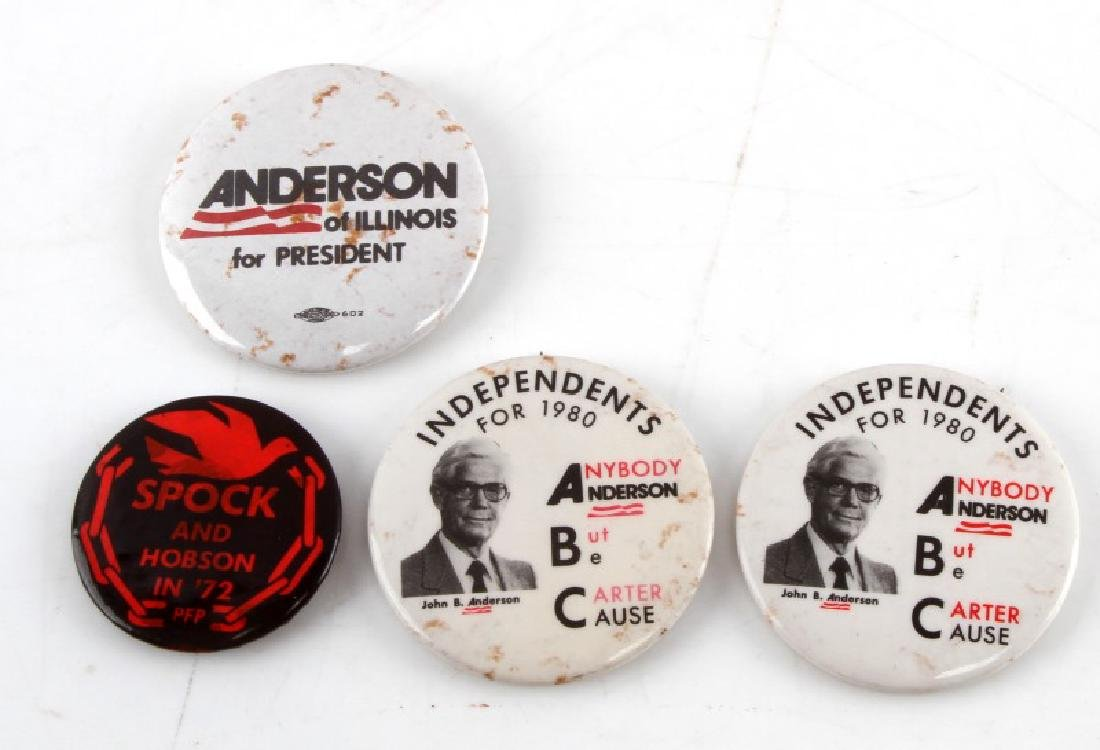 4 VINTAGE 3RD PARTY PRESIDENTIAL CAMPAIGN BUTTONS
