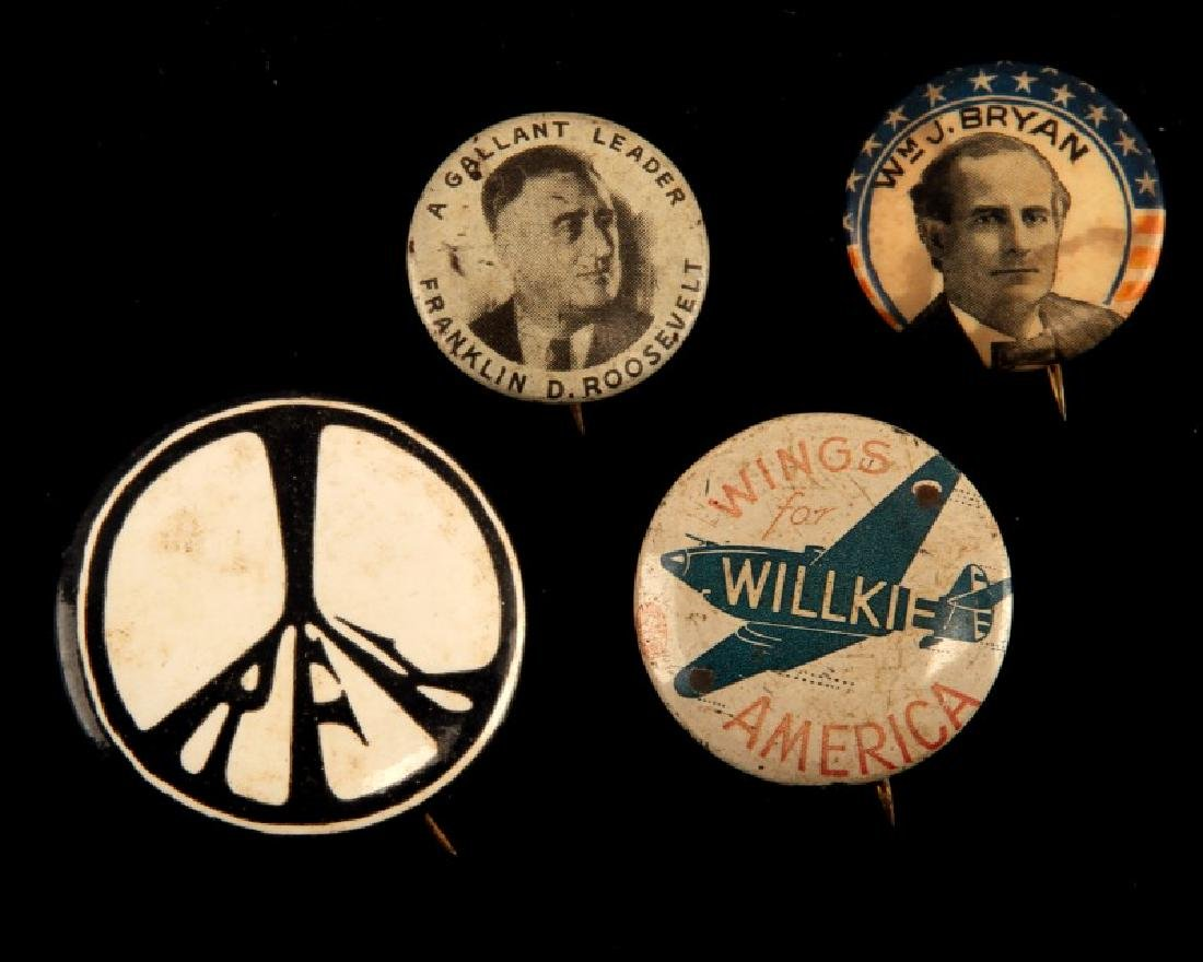 4 RARE VINTAGE US POLITICAL CAMPAIGN BUTTON LOT