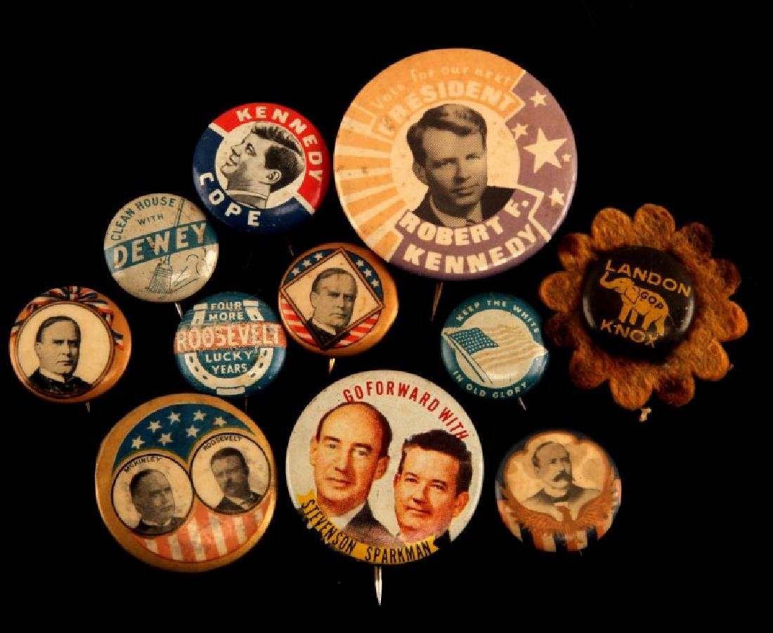 11 RARE US POLITICAL CAMPAIGN BUTTON LOT KENNEDY
