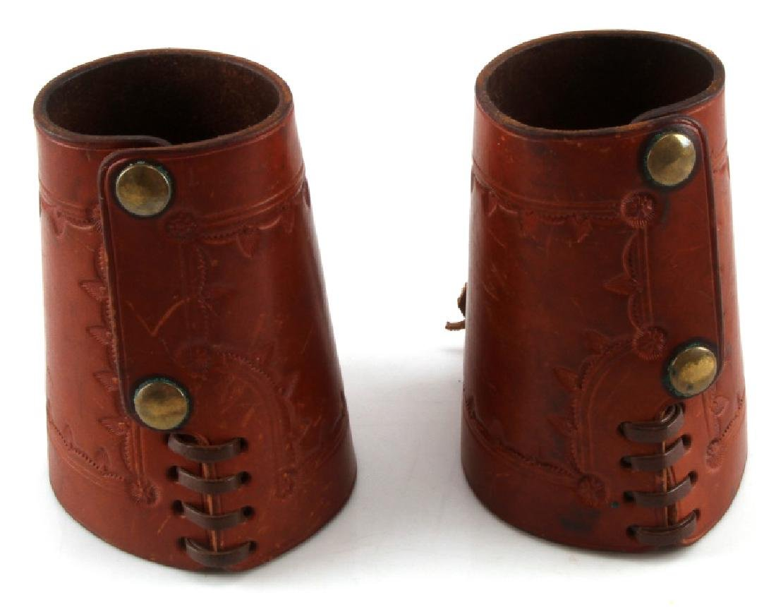 ANTIQUE PAIR OF LEATHER WOVEN HIDE FOREARM BRACERS - 2
